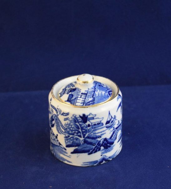 Burleigh ware blue and white mustard pot
