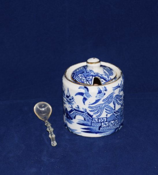 Antiques Online Burleigh-ware-blue-and-white-mustard-pot Burleigh Ware Willow Mustard Pot