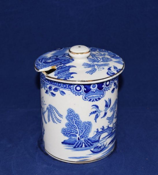Antiques Online Burleigh-ware-jam-or-preseve-pot Burleigh Ware Blue and white Willow Jam Pot