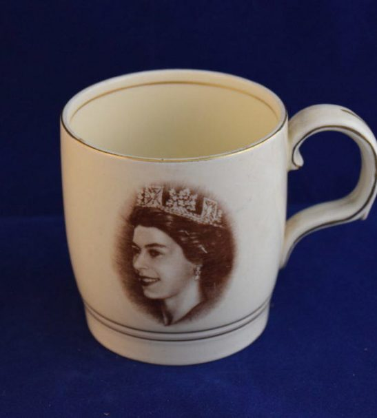 Antiques Online commemorative-mug-coronation-Elizabeth Commemorative Coronation Mug Elizabeth 2nd
