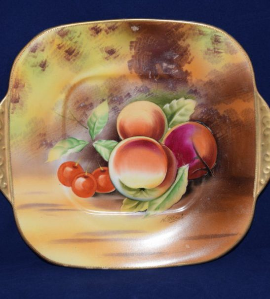 hand painted Japan fuit plate