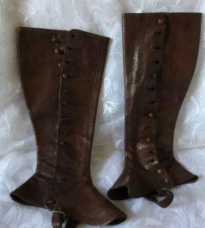 Antiques Online Spatts-297x330 Antique Victorian Ladies Leather Spatts c 1850