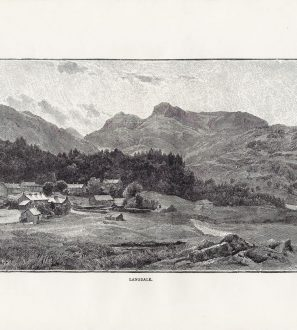 Antiques Online 2021-02-12_155646-Copy-2-297x330 Elterwater Village Engraved Print 1870s, Langdale Pikes, Lake District Cumbria UK.