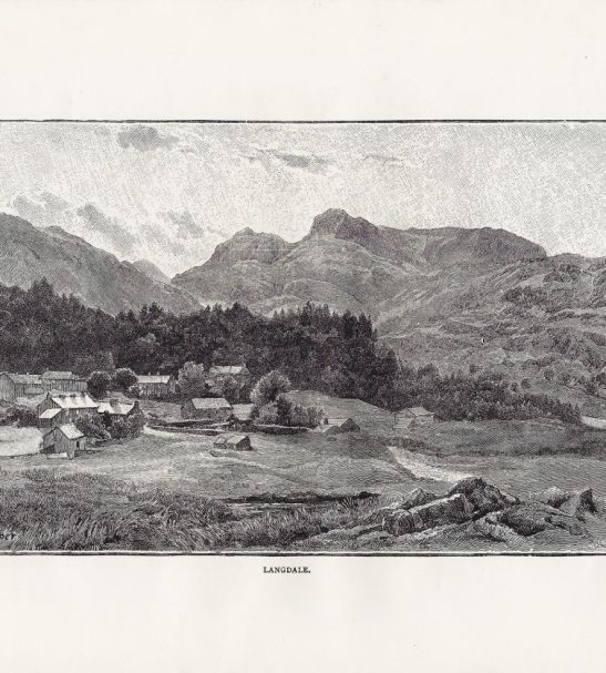 Antiques Online 2021-02-12_155646-Copy-2 Elterwater Village Engraved Print 1870s, Langdale Pikes, Lake District Cumbria UK.