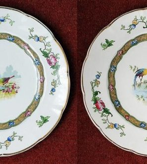 Antiques Online il_794xN.1754860575_dxr4-297x330 George Jones & Sons Pottery Plates x 2 Decorated With Exotic Birds Antique Famille Rose Design