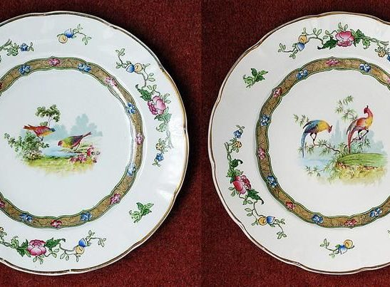 Antiques Online il_794xN.1754860575_dxr4 George Jones & Sons Pottery Plates x 2 Decorated With Exotic Birds Antique Famille Rose Design